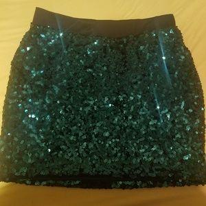 Emerald Sequin Mini Skirt